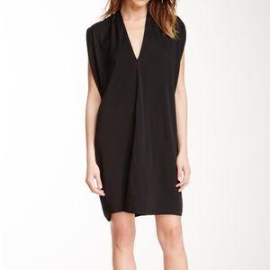 VINCE Double V-Neck Silk Dress Black XS